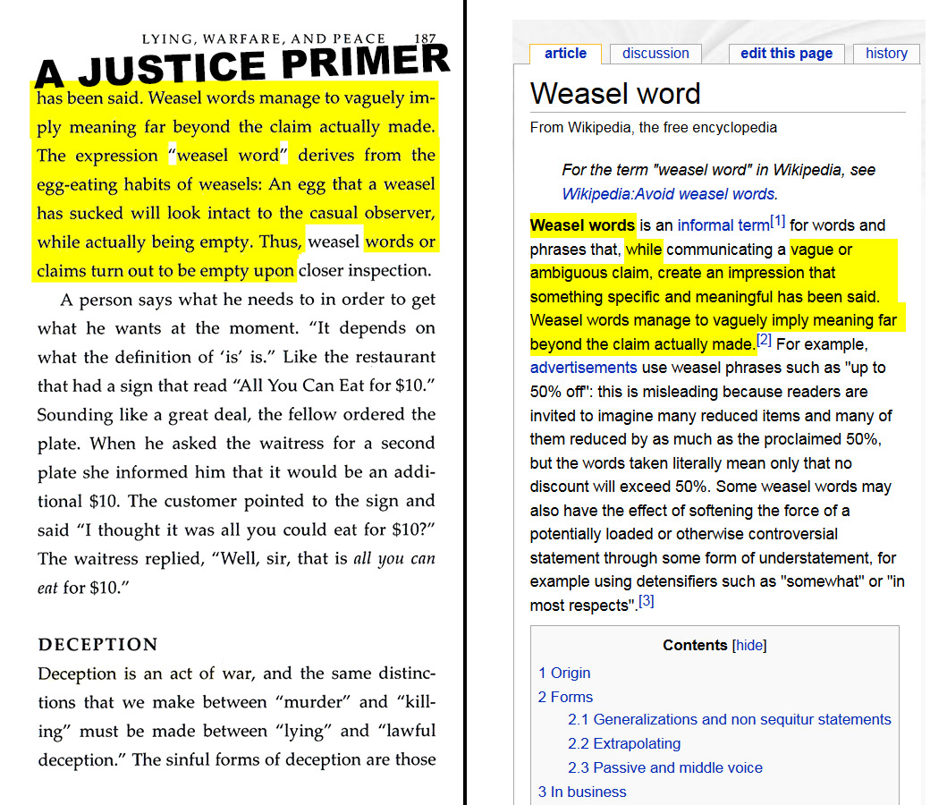 """A Justice Primer page 187 — """"weasel words"""" via Wikipedia"""