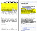 "A Justice Primer page 187 — ""weasel words"" via Wikipedia"